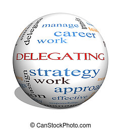 Delegating 3D sphere Word Cloud Concept with great terms...