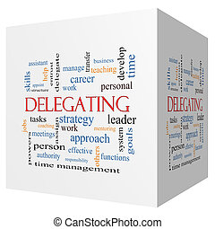 Delegating 3D cube Word Cloud Concept