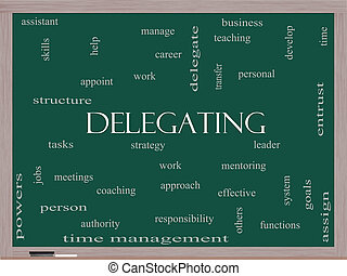 Delegating Word Cloud Concept on a Blackboard with great...