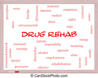 Drug Rehab Word Cloud Concept on a Whiteboard with great...