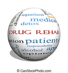 Drug Rehab 3D sphere Word Cloud Concept with great terms...