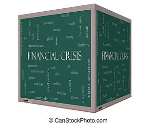 Financial Crisis Word Cloud Concept on a 3D cube Blackboard