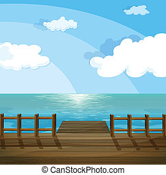 A view of the sea - Illustration of a view of the sea