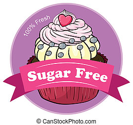 A mouthwatering cupcake with a sugar free label
