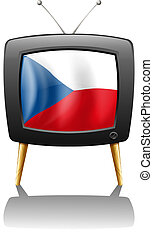 The flag of Czech Republic inside the television -...