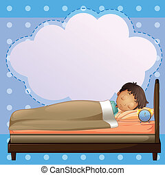 A boy sleeping soundly with an empty callout - Illustration...