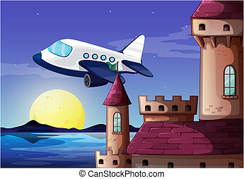 An airplane near the castle - Illustration of an airplane...
