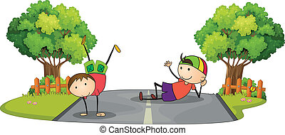 Two kids playing in the middle of the road - Illustration of...