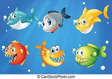 Six colorful fishes under the deep sea - Illustration of the...