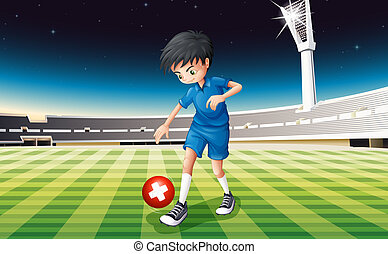 Illustration of a male soccer player kicking the ball with the flag of Switzerland