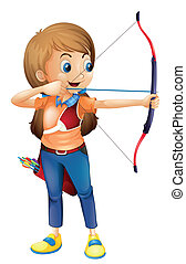 A young lady playing archery - Illustration of a young lady...