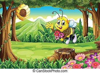 A bee at the forest with flowers - Illustration of a bee at...