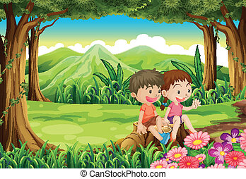 A stump with two adorable kids