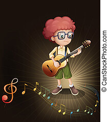 A talented boy with a guitar - Illustration of a talented...