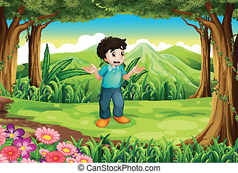 A lost young man in the middle of the forest - Illustration...