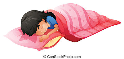 A young woman sleeping - Illustration of a young woman...