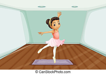 A young ballet dancer dancing above the rug