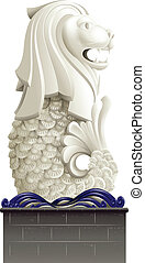 The statue of Merlion - Illustration of the statue of...