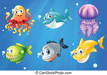 A deep ocean with smiling creatures - Illustration of a deep...