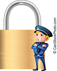 A smiling cop beside the giant padlock - Illustration of a...