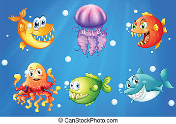 A sea with smiling creatures - Illustration of a sea with...