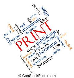 impresión, angular, concepto, palabra, nube