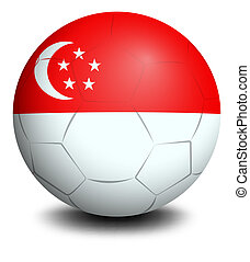 A soccer ball with the flag of Singapore