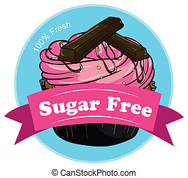 A sweet cupcake with a sugar free label
