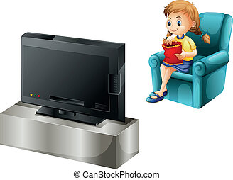 A child watching TV