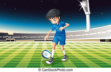 A soccer player kicking the ball with the flag of Israel