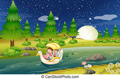 A river with a floating boat with kids - Illustration of a...