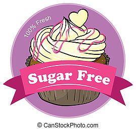 A sugar free label with a delicious cupcake
