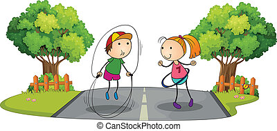 Children playing in the middle of the street - Illustration...