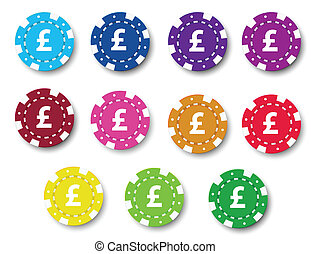 Poker chips - Illustration of the poker chips on a white...