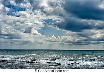 Caspian Sea. - Beautiful clouds over the Caspian Sea.