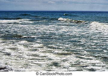 Caspian Sea. - Storm on the Caspian Sea, outdoors, day.