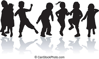Childrens , kids - black silhouettes, vector work
