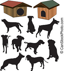 Dogs collection silhouette - vector