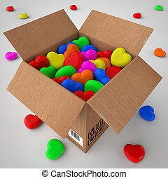 Cardboard box filled with coloured hearts - 3d illustration...