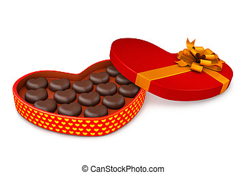 Box with candies to the day of Saint Valentin - 3d...