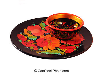 Decorative tray - collection of tableware from a tree is...