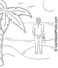 sketch of the girl in swimsuit on the sunny beach