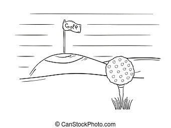 sketch of the golf ball and flag