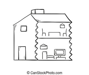 sketch of the house on white background, isolated