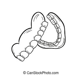 sketch of the denture on white background, isolated
