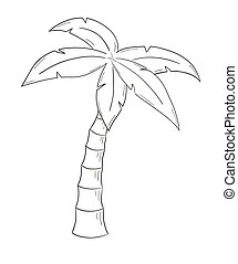 sketch of the palm tree on white background, isolated