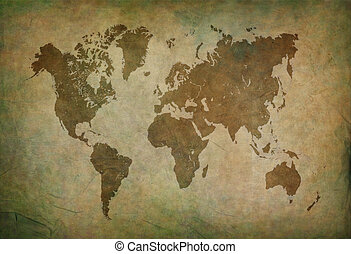 ancient world map brown