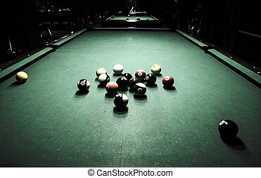 Surrealistic billiard game conceptual photo