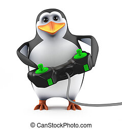 3d Penguin video gamer - 3d render of a penguin holding a...