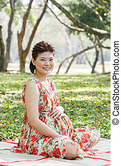 Asian pregnant woman - Beautiful asian pregnant woman sit on...